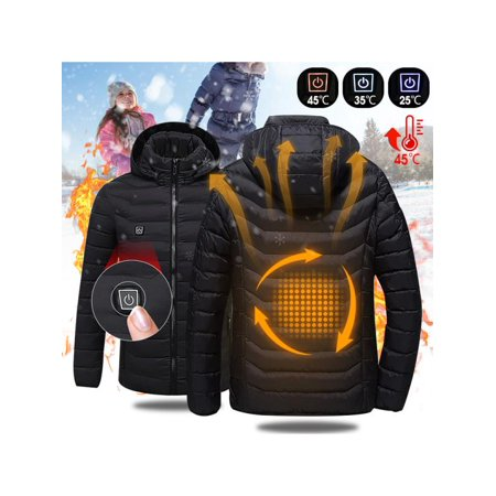 Mens Intelligent Heating USB Hooded Heated Jacket Outerwear Workwear Motorcycle Skiing Snow Winter Warm Warmer Coats Hoodie Breathable Coat Adjustable (Without Portable Source)