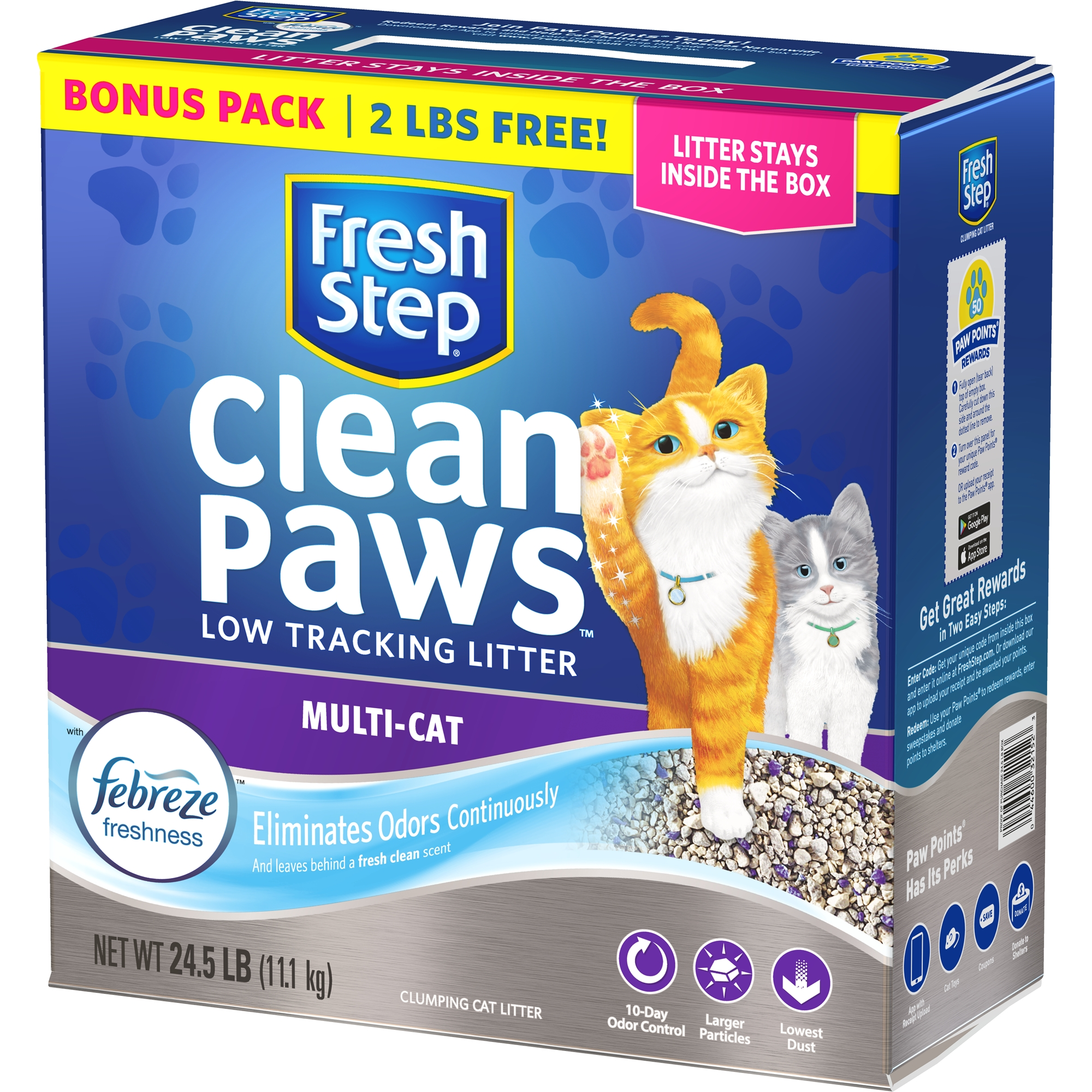 Fresh Step® Clean Paws Multi-Cat Scented Litter with the Power of Febreze™, Clumping Cat Litter, 24.5 Pounds