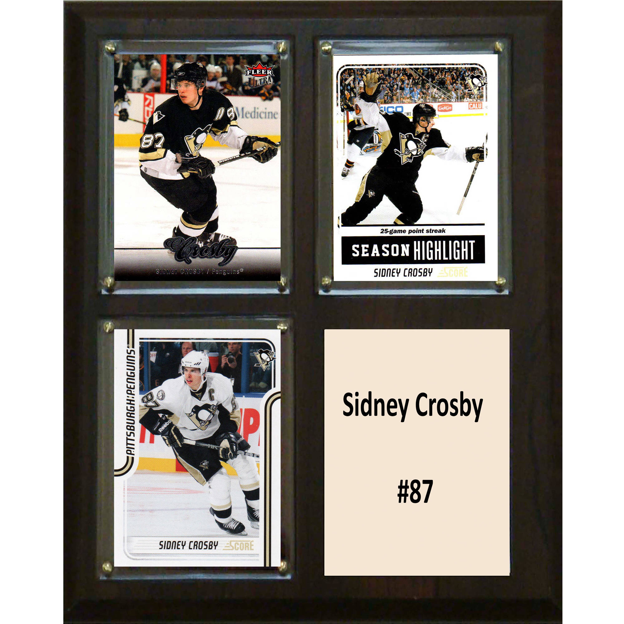 C&I Collectables NHL 8x10 Sidney Crosby Pittsburgh Penguins 3-Card Plaque