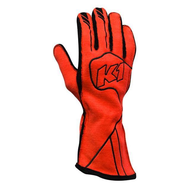K1 RaceGear 23-CHP-FR-M FIA 8856-2000 & SFI 3.3-5 Premium Champ Auto Racing Nomex Gloves, FLO Red - Medium