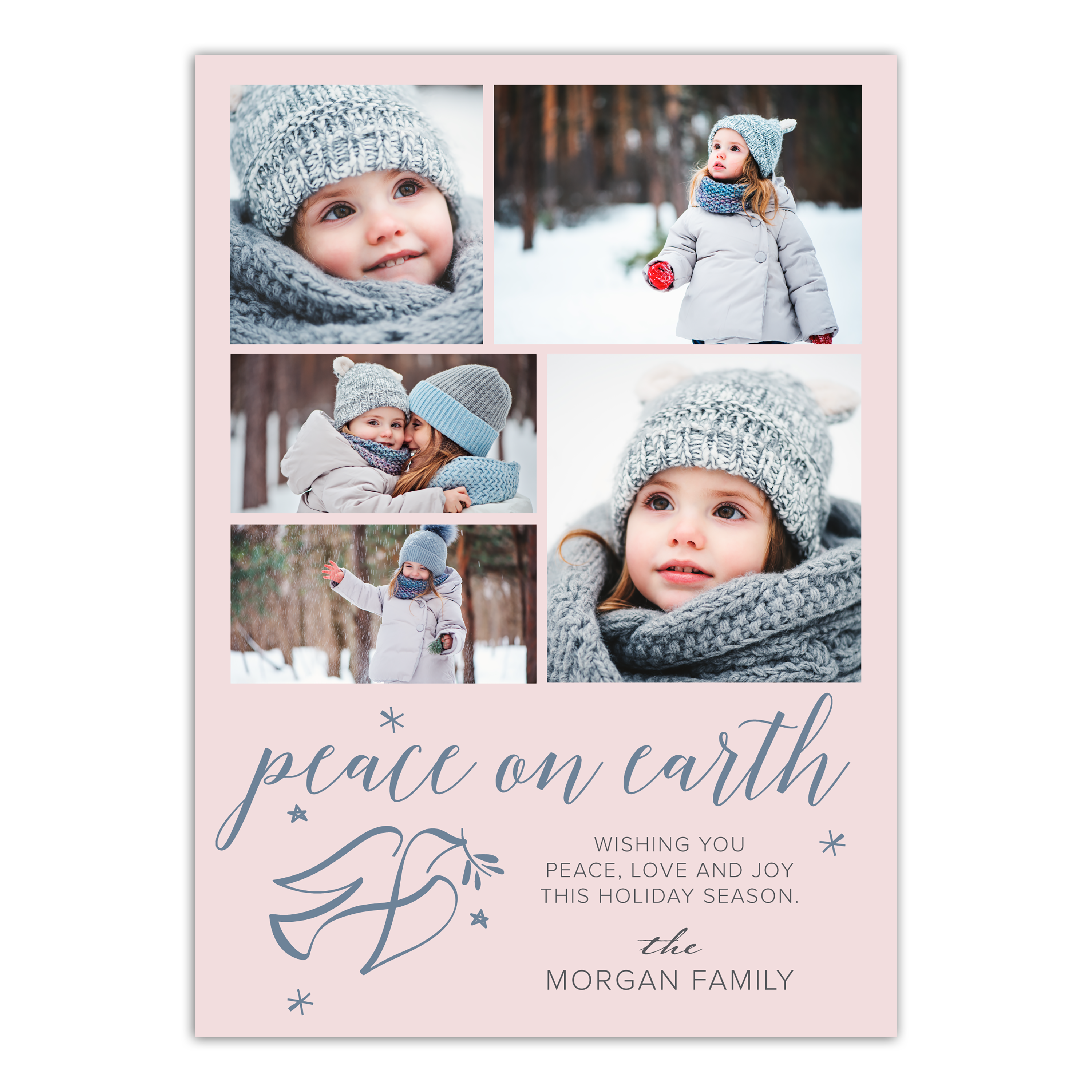 Personalized Holiday Photo Card - Peace On Earth