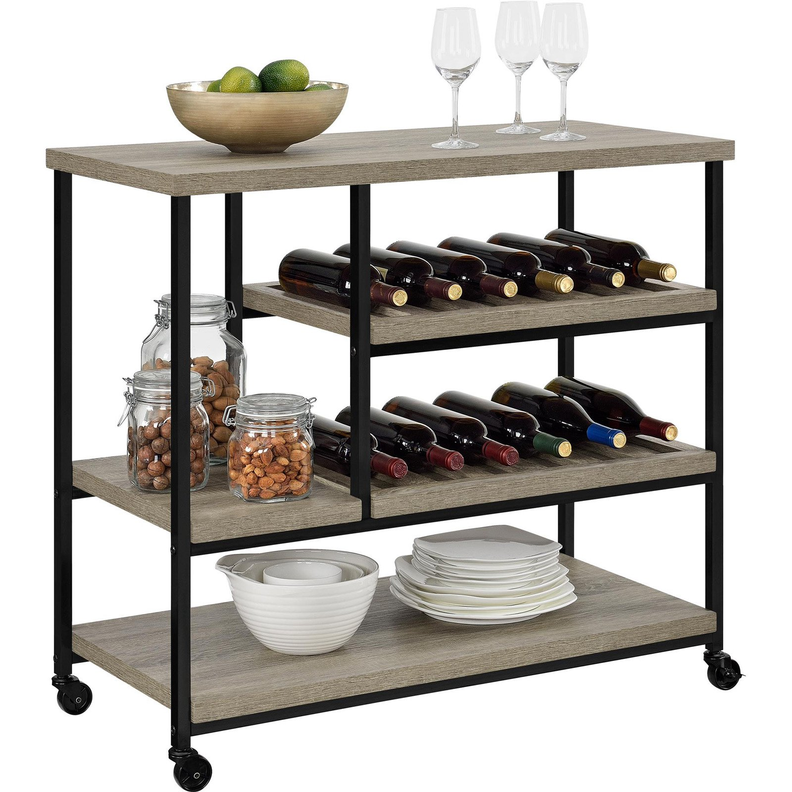 Elmwood Multi-Purpose Kitchen Cart, Sonoma Oak