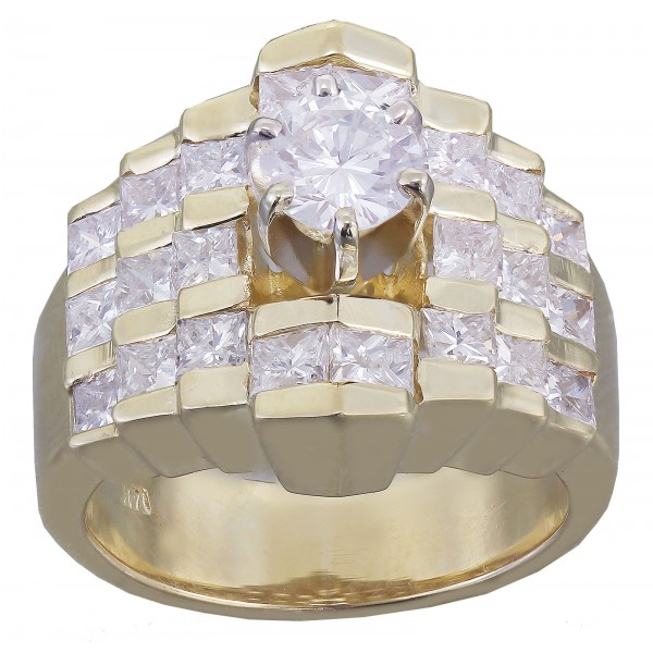 14k Yellow Gold Round And Princess Cut Diamond Engagement Ring 1.50ctw H-Vs2 Egl Usa by KNR INC