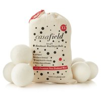 Wool Dryer Balls by Casafield Set of 6, Extra Large Organic Handmade 100% New Zealand Wool, Natural Laundry Fabric Softener