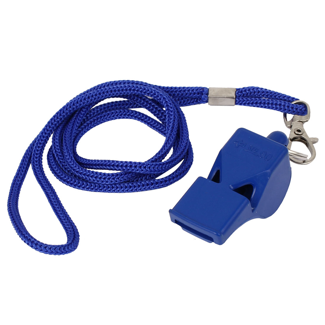 Outdoor Sports Match Coach Lobster Clasp Nylon Neck Lanyard Referee Whistle Blue