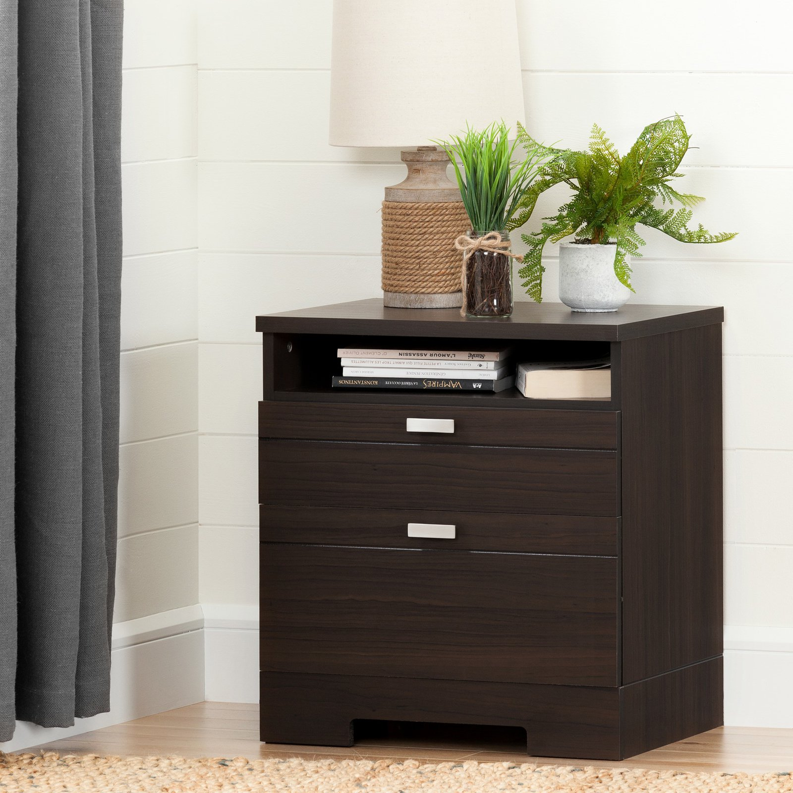 South Shore Reevo Nightstand with Charging Station, Multiple Finishes by South Shore