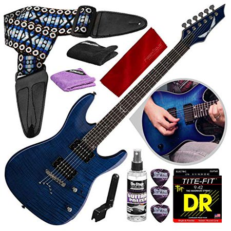 Dean Electric Upright Bass (Dean Custom 350 Electric Guitar, Trans Blue with Guitar Care Kit & Accessory Package )