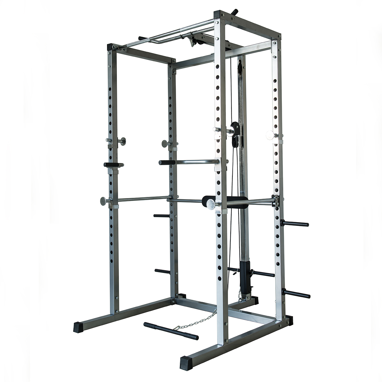 Akonza Athletics Fitness Power Rack with Lat Pull Attachment w  Weight Holder Exercise Station Function by Akonza