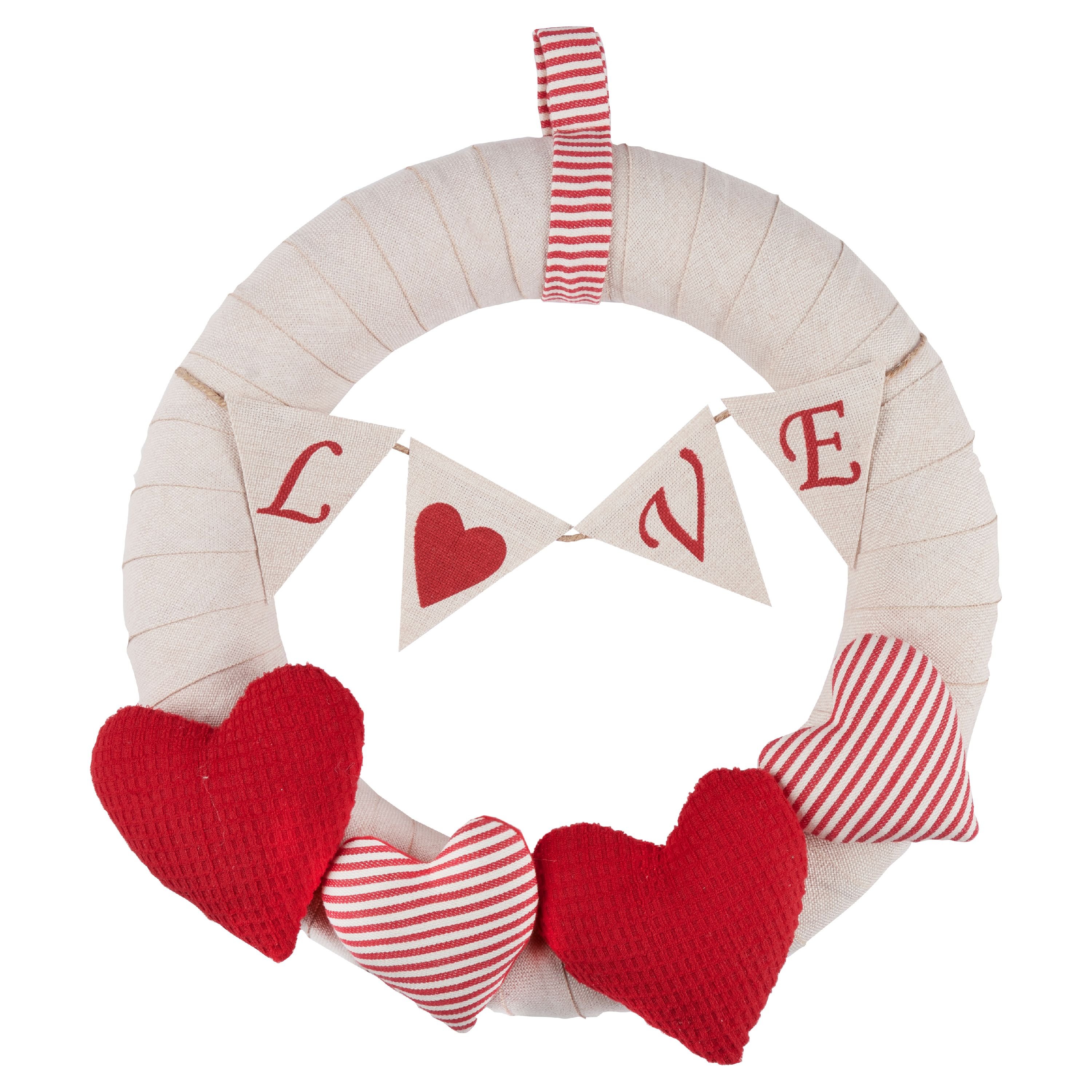 Valentine's Day Present Way To Celebrate Wreath with 4 Soft Stuffed Hearts