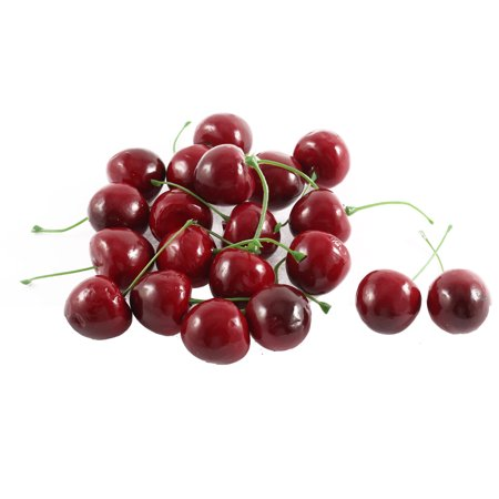 (Unique Bargains 20 Pcs Artificial Fake Plastic Cherry Party Table Fruit Food Ornament Red Green for Home Essential)