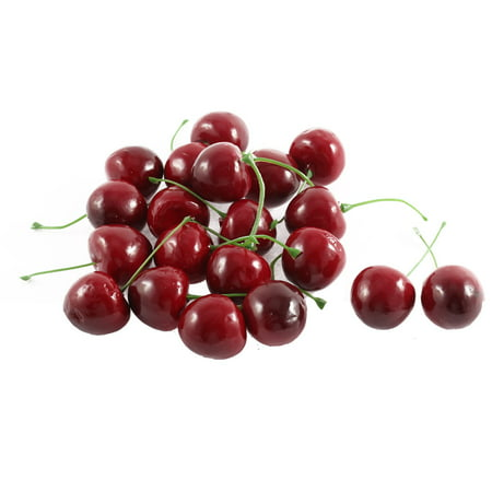 20 Pcs Artificial Fake Plastic Cherry Party Table Fruit Food Ornament Red Green - image 2 de 2