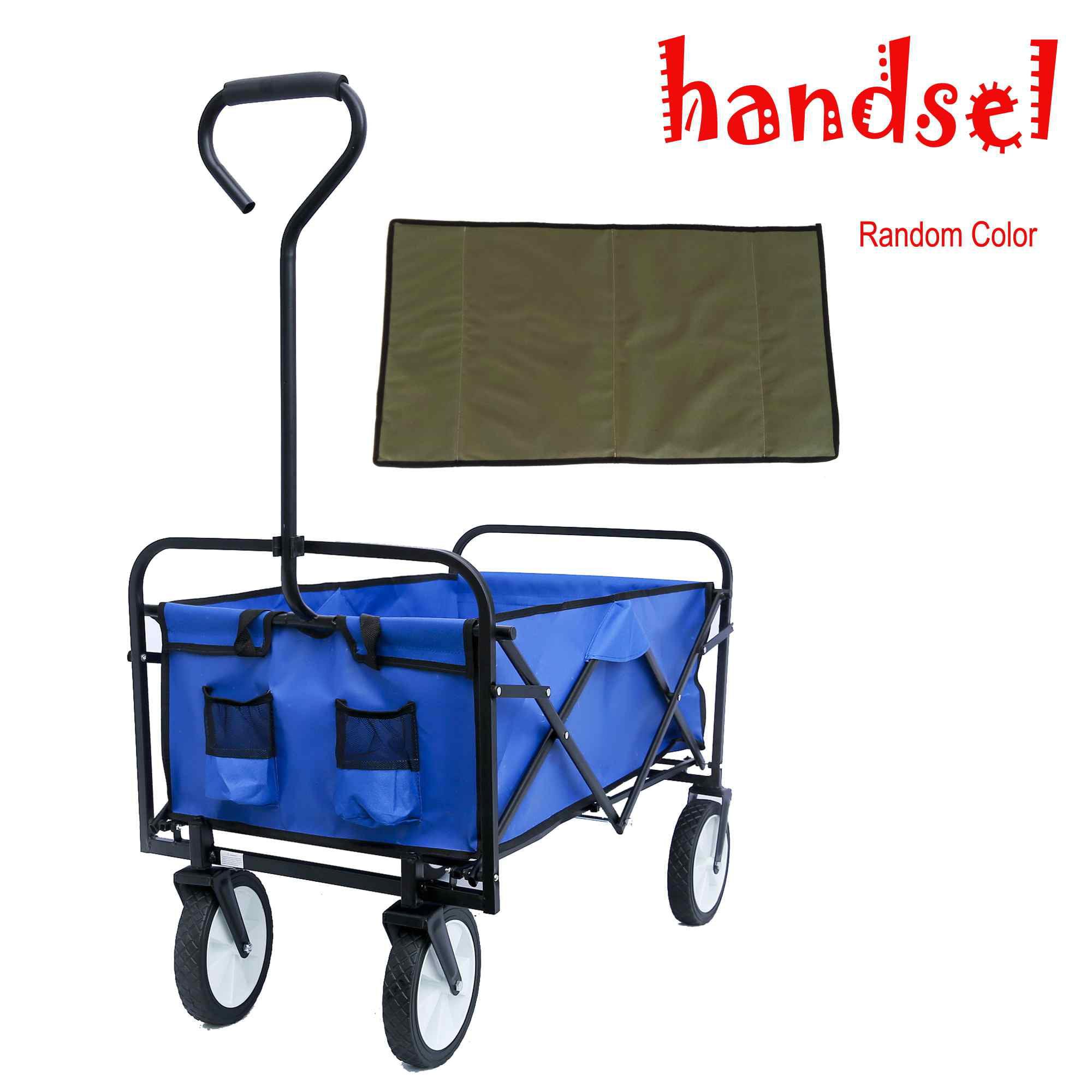 Romacci Folding Wagon Garden Shopping Beach Cart Blue Walmart Com Walmart Com