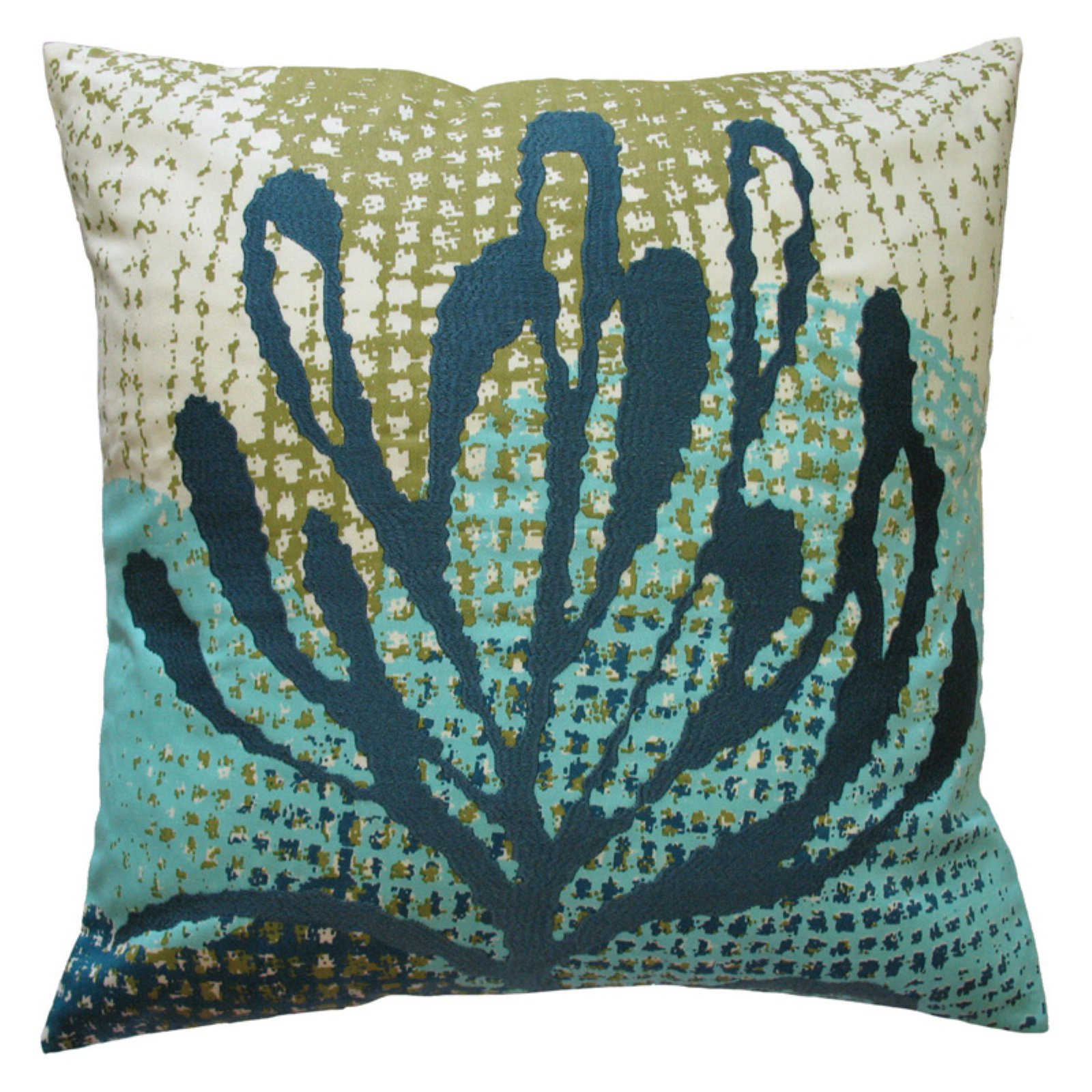 Koko Company Ecco Blue Leaf Decorative Pillow