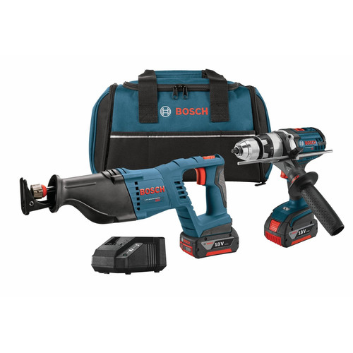 Bosch CLPK203-181 18V Cordless Lithium-Ion 1 2 in. Hammer Drill Driver and Reciprocating... by Bosch