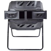 EJWOX Compost Bin Tumbler Outdoor 43 Gal, Dual Chamber, BPA Free, Black Door