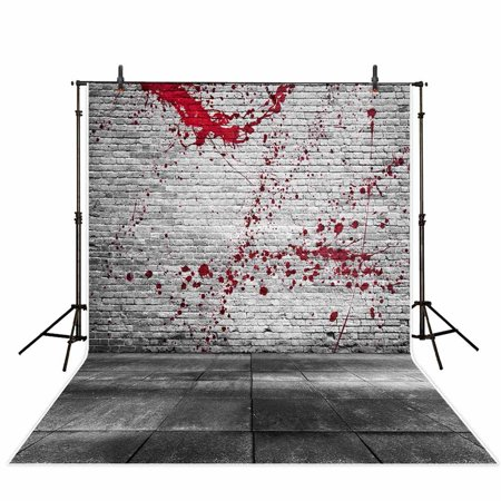 Halloween Tv Background (GreenDecor Polyster Photography Background 5X7ft Halloween Brick Wall Slate Floor Blood Strain Backdrop Studio Photo Props for)