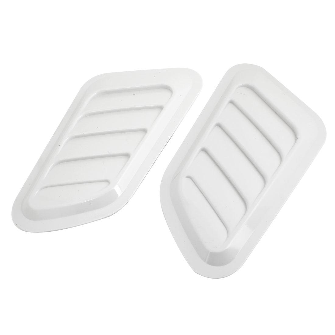 Unique Bargains 2 Pcs White Car Ahesive Subaru-look Side Air Scoop Bonnet Vent Cover
