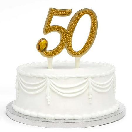 Le Prise Gilded 50th Anniversary Cake Topper - 50th Anniversary Cake Topper