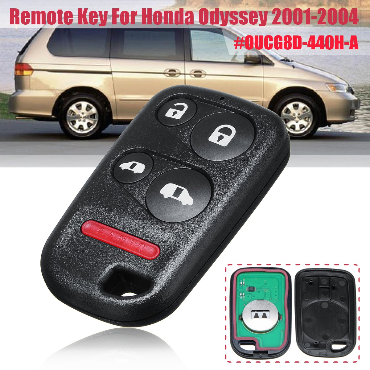 Replacement Remote Key Fob 5 Button for Honda Odyssey 2001-2004 OUCG8D-440H-A