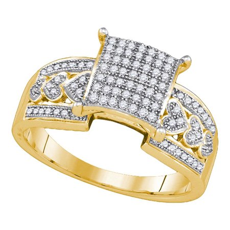 10kt Yellow Gold Womens Diamond Square Cluster Heart Bridal Wedding Engagement Ring 1/3 Cttw (The One Ring)