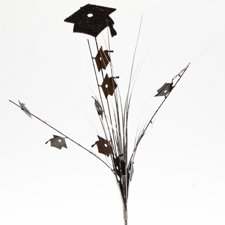 Black Grad Glitter Cap Centerpiece Sprays  pkg/12