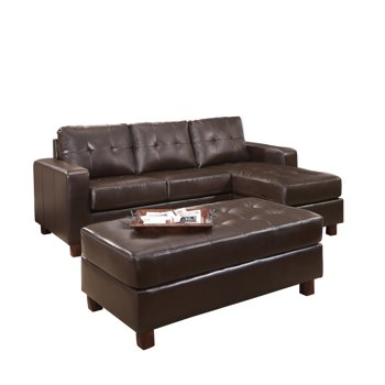 Claire Leather Reversible Sectional and Ottoman