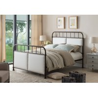 Alpine Pewter Twin Size Upholstered Faux Leather Transitional Metal Bed (Headboard, Footboard, Rails & Slats)