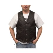 Redline Leather Men's Naked Leather Motorcycle Riding Vest, Brown M-2200SD-BROWN