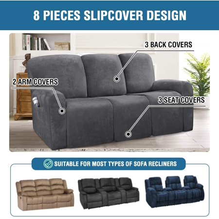 H Versailtex 8 Pieces Recliner Cover 3, Slipcovers For Dual Reclining Sofas