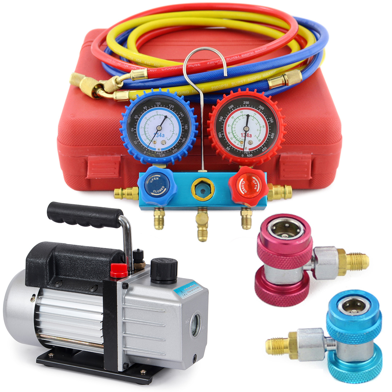 Arksen Vacuum Pump 4CFM, 1/3HP + Manifold Gauge Charging/Hose for R134a