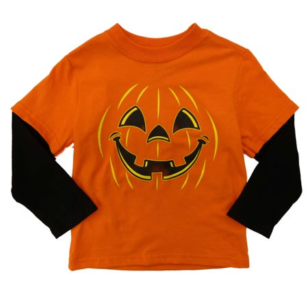 Infant & Toddler Boys Orange Pumpkin Long Sleeve Halloween Tee Shirt (Miley Halloween Pumpkins)