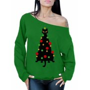 Awkward Styles Ugly Xmas Sweatshirt Off Shoulder Christmas Cat Sweater