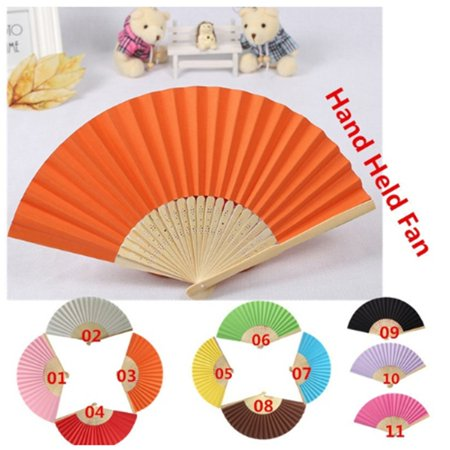 DIY Summer Bamboo Folding Hand Held Fan Chinese Dance Party Solid Color Fan - image 6 de 10