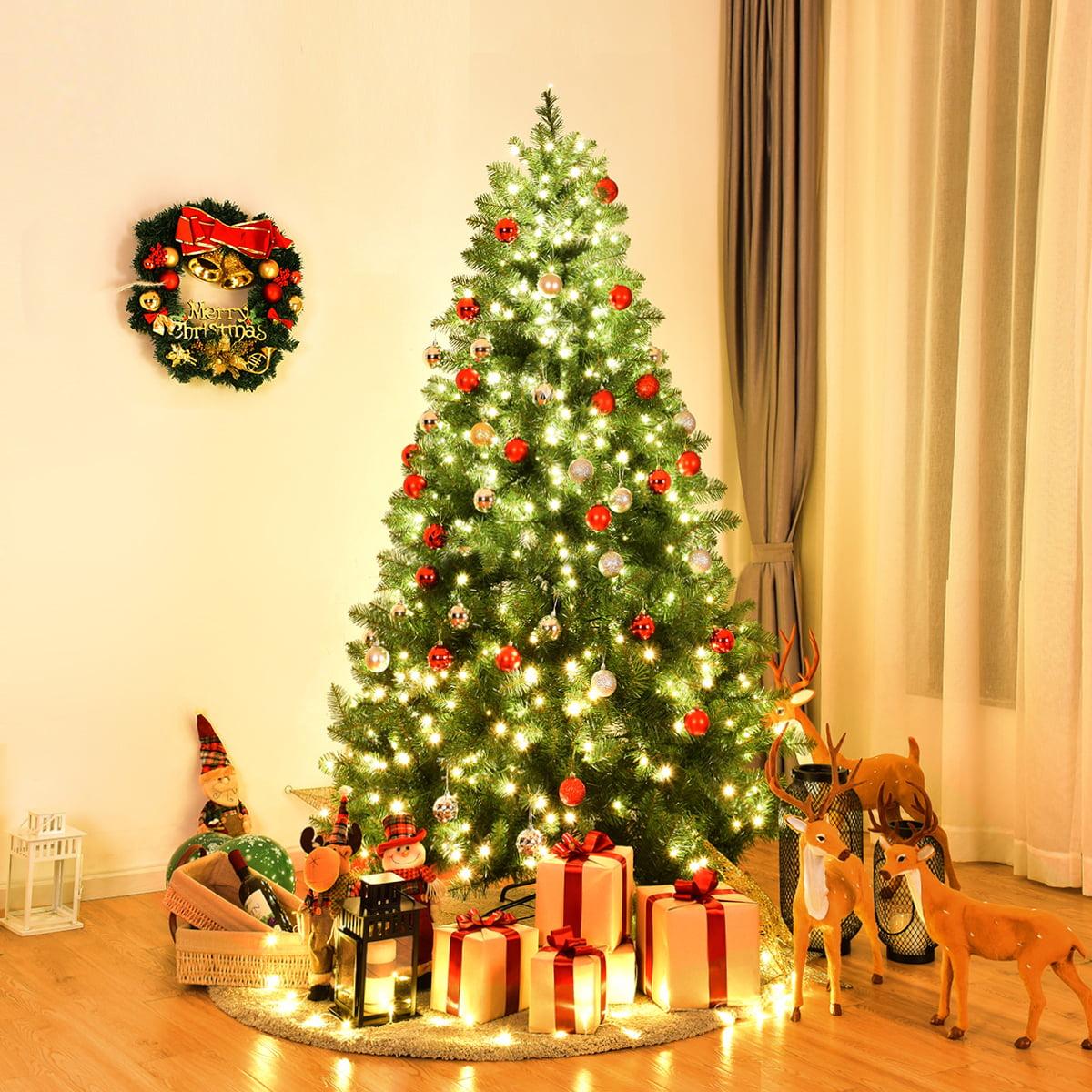 Costway Pre-Lit PVC Christmas Tree 6Ft Spruce Hinged 560 ...
