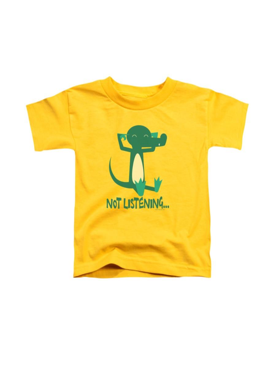 Not Listening T-shirt Trevco Yellow Kids Unisex 100% Cotton Short Sleeve