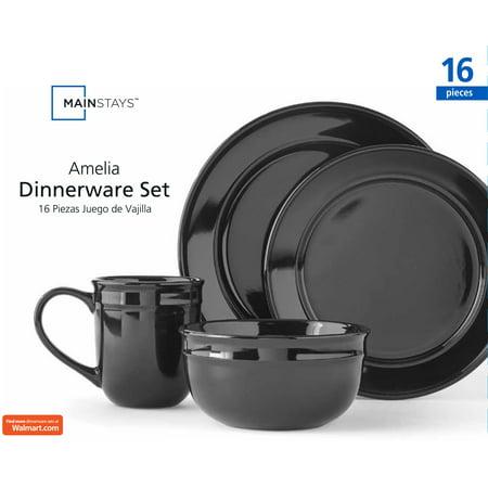 Mainstays Amelia Black Dinnerware Set, 16 Piece