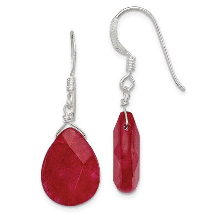 Sterling Silver Red Jade Dangle (Dyed Jade Earrings)