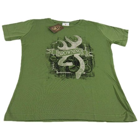 Classic Fit Green - Browning Buckmark Framed Leaves Classic Fit Olive Green T-Shirt Womens