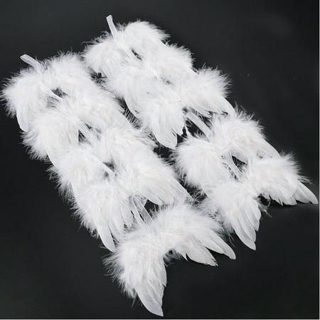 lisenraIn 10PCS Angel White Feather Wing Christmas Tree Decor Hanging Ornament ()