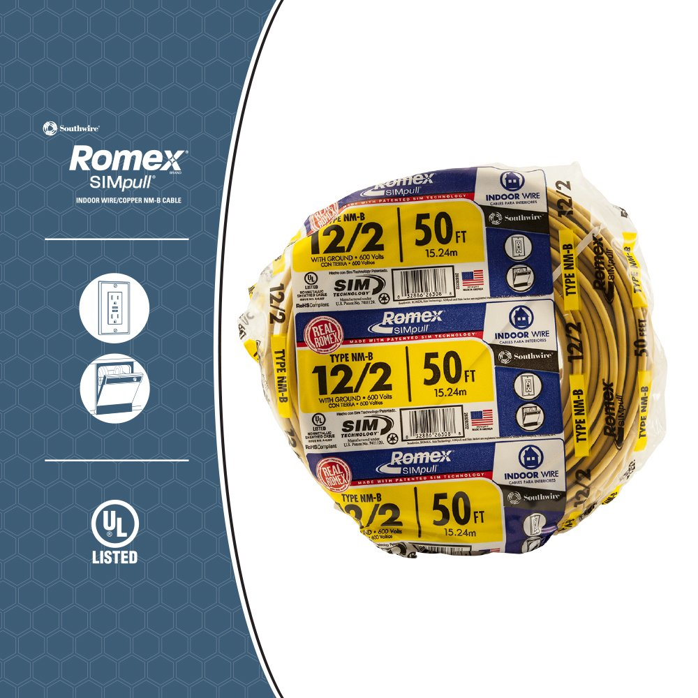 12 2 With Ground Electrical Wire | Southwire 28828222 50 12 2 With Ground Romex Brand Simpull