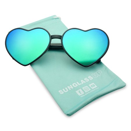 Oversized Heart-Shaped Round Colorful Flat Mirror Lens Love Sun (Love Heart Shaped Sunglasses)