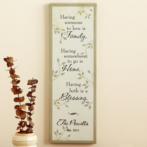 """Personalized """"Family, Home, Blessing"""" Canvas Wall Decor"""