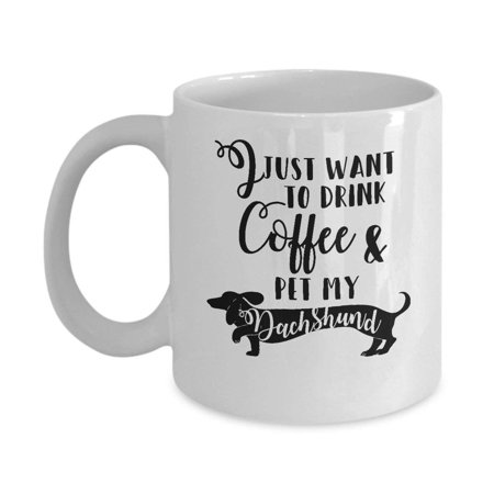 Drink Coffee & Pet My Dachshund Wiener Dog Lover Funny Novelty Gift Mug