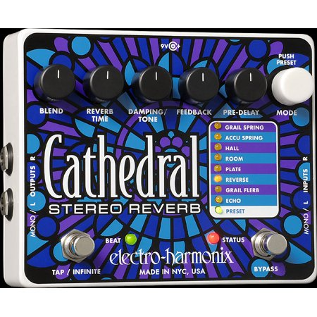 Electro Harmonix Cathedral Stereo Reverb Guitar Pedal with Power Supply Part Number: