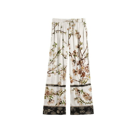 Women's Blossom Lounge Pants - Elastic Waist Band and Side (Elastic Slide)