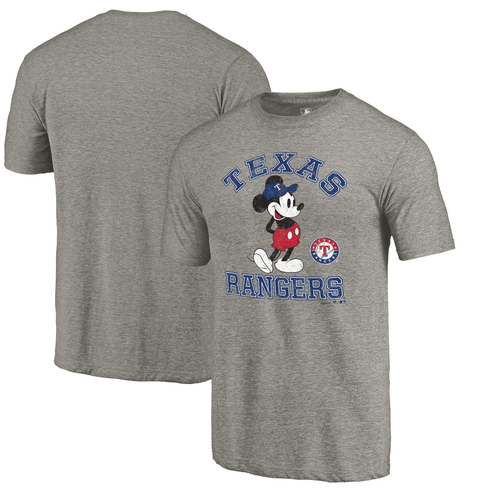 Texas Rangers Fanatics Branded Disney MLB Tradition Tri-Blend T-Shirt - Heathered Gray