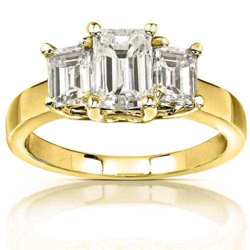 Annello 14k Yellow Gold 2 3/4ct CTW Emerald-cut Moissanite Three-stone Engagement Ring Size 4.5