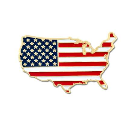 PinMart's United States Outline American Flag Patriotic Enamel Lapel Pin