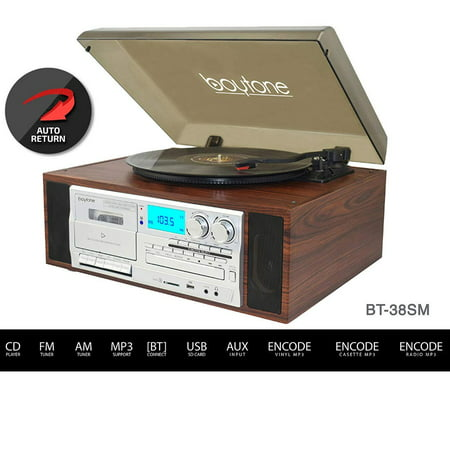 Boytone BT-38SM Bluetooth Classic Turntable Record Player System, AM/FM Radio, CD / Cassette Player, 2 Built-in Stereo