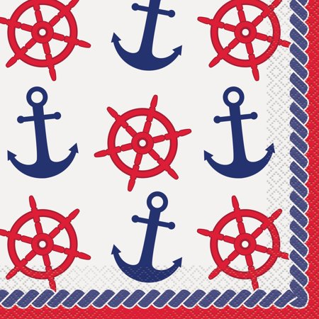 Nautical Anchors Paper Luncheon Napkins, 6.5 in, - Navy Luncheon Napkins